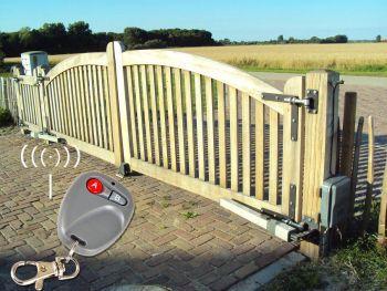 SW101 vleugelhekopener easyjack toepassing met afstandbediening